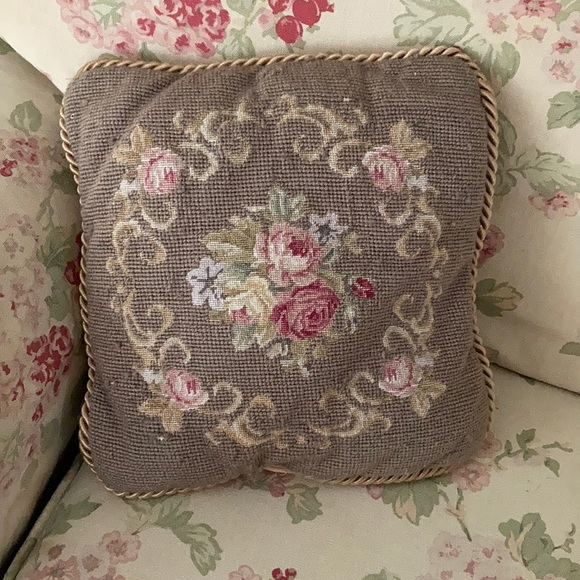 Vintage embroidered velvet pillow